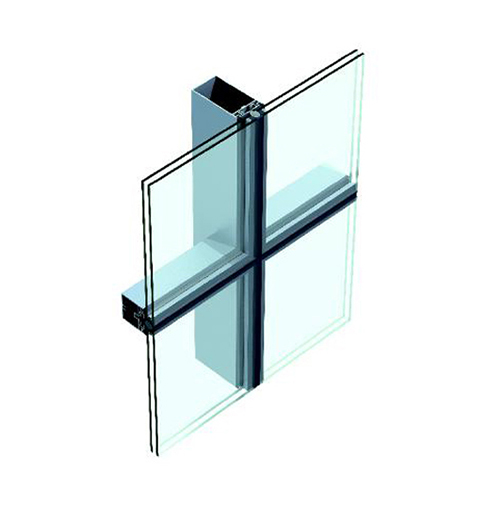 Chuango(US-1) Single Piece Glass Curtain Wall in Form of Vertical Exposed and Horizontal Hidden Frame Series